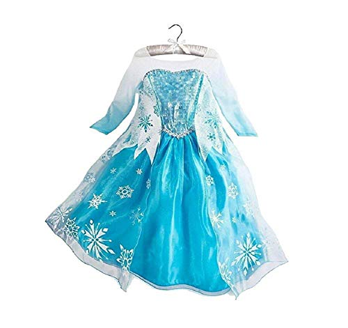 Disfraz de Reina del Hielo / Princesa de Nieve para niñas - Disfraz con impresión de Copos de Nieve - Azul/Plata/Blanco - Talla 150 (146-152)