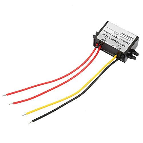 Convertidor de fuente de alimentación, AC 12V 24V a DC 5V Buck Converter Módulo de fuente de alimentación AC-DC para ventilador, bomba de agua, motor, enrutador(5a)