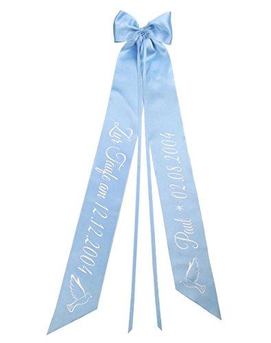Elefantasie Taufschleife mit Taufdatum Namen und Geburtsdatum personalisiert Modell Taube hellblau