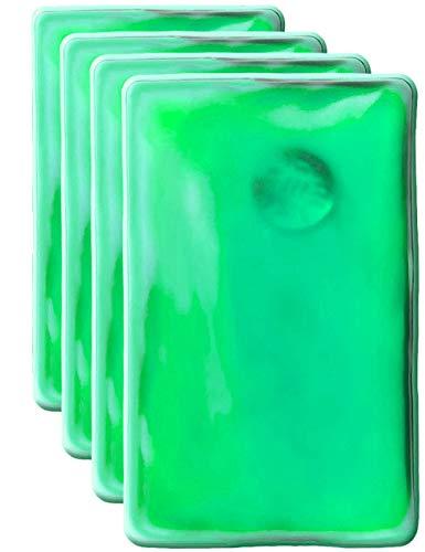 HomeTools.eu® - Set di 4 cuscini termici, scaldamani in gel, scaldamani, auto-riscaldanti, a lunga durata, riutilizzabili, 10 x 6,5 cm, colore: Verde