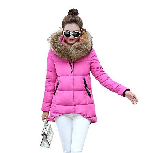 BOLAWOO-77 Abrigo de Invierno de Chaqueta Mujer para Invierno Acolchada Mode De Marca Abrigo Relleno de algodón Abrigo con Capucha con Piel de Arte con Capucha