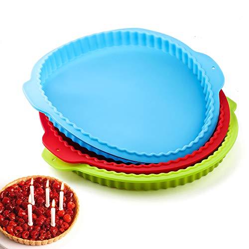 ghqcny Silikonkuchenform 10 Zoll Wellenrand Pizza Apfelkuchen Silikon Backblech, Geeignet Für Ofen, Mikrowelle, Kühlschrank (3 Stück)