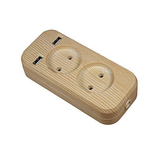 NLRHH Tiro de Enchufe de la Caja de la Caja 1200W 250V, 5V 2A Color de Madera de Madera portátil 2 Puerto USB para teléfonos móviles para teléfonos Inteligentes Tabletas Peng