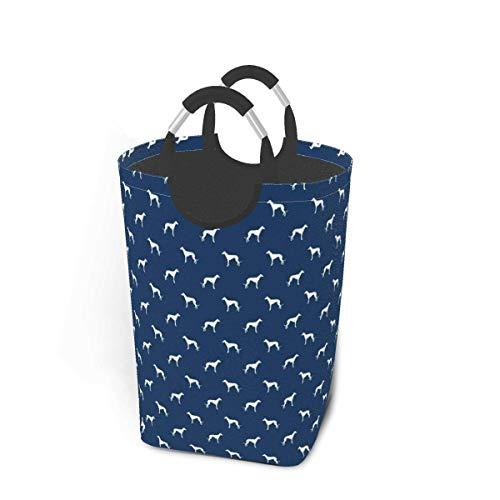 ZCHW Cesto de lavandería Contenedor de Almacenamiento Azul Marino Greyhound Dog Silhouette Cesta de Almacenamiento Plegable Grande 50L