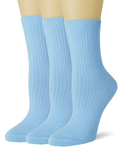 VIVIKI Women's Super Warm Soft Cotton Cozy Sock Dress Socks 3 Pair Pack (Light blue)