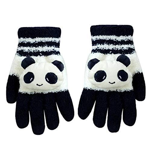Pantalla táctil Guantes de Lana Lindo Invierno Guantes Manopla diseño de Dibujos Animados Panda Texting Guantes Gran Regalo para el día de Navidad Año Nuevo (Negro Blanco de la Panda)