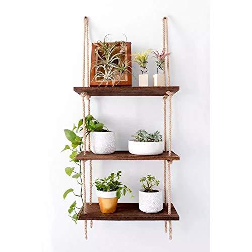 Bottl 3 Tier Wood Rope Floating Hanging Shelf Home Decor Organizer - Distressed Rustic