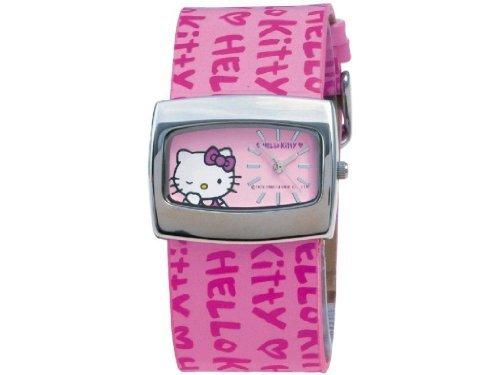 Hello Kitty - 253A084 - Montre Femme - Quartz Analogique - Cadran Rose - Bracelet en Cuir Rose by Hello Kitty