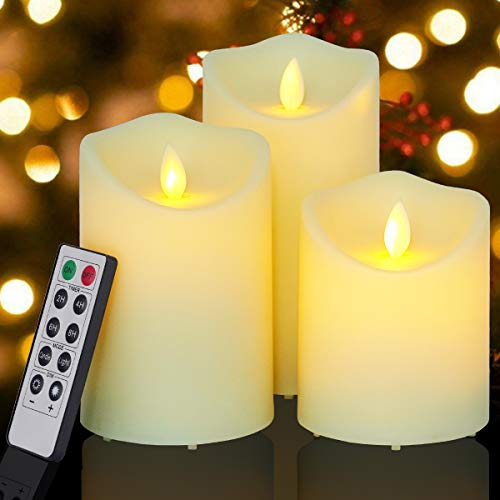 Flickering Flameless Candles Outdoor Waterproof Battery Operated Candle Led Candle Pillar Frosted Plastic Candle Set of 3 Include Realistic Dancing LED Flames and Remote Control (D:3.25'x H:4'5'6')