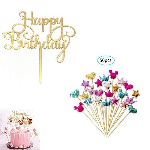 Happy Birthday Cake Topper 51pcs, Gold Geburtstag Kuchen Topper/Tortenstecker für Geburtstagsdeko, Acryl Cupcake Topper für Kindergeburtstag Baby Shower Tortendeko/Kuchendeko Glitzer Party Dekoration
