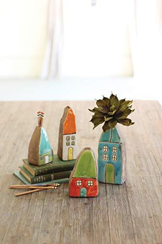 KALALOU Set of Colorful House Bud Vases, One Size, Multicolored