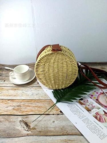 ABO Runder Strohbeutel für Damen, einfarbig, Rattan-Taschen mit Verschlussschnallen und schräger Spannung. beige