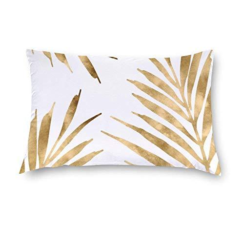 Aafndgsa - Fundas de cojín rectangulares de palmeras doradas, 40 x 60, algodón, fundas de almohada para sofá