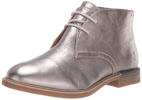 Hush Puppies Women's Bailey Chukka Boot Boot, Gunmetal Metallic Leather, 08.5 M US
