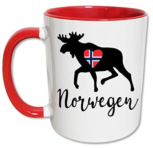 Norwegen Tasse Elch, Norwegen Geschenke, Herz mit norwegischer Flagge, Skandinavien Urlaub, Norwegen Liebe, Kaffeetasse, Teetasse, Keramik
