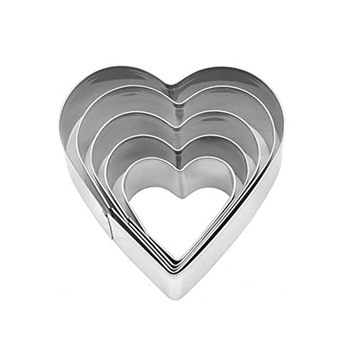 5 Piece Cookie Cutters ,Different Sizes Stainless Steel Heart Cokkie Cutter,Use for Cookies, Bread, Fudge, Sandwiches, Chocolate, Eggs,(1.6'/2'/2.3'/2.8'/3.3' )