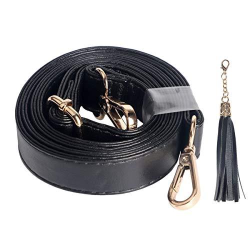 Beaulegan Ersatzträger für Umhängetaschen, aus Mikrofaser-Leder, verstellbar, 150 cm lang, Schwarz, Leder, Goldfarbener Verschluss, 2 cm Wide