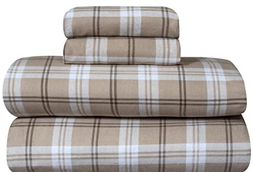 Bliss Casa - Juego de sábanas de franela de algodón 100% de 4 piezas, bolsillos profundos de alta GSM, cálido y transpirable. El...