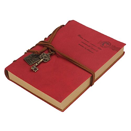 Classic Vintage Style PU Cover Notebook Travel Diary Sketchbook (Red)