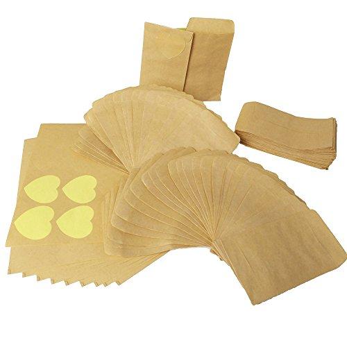 6*10cm 100Stück Kleine Mini Papiertüten Papierbeutel Kraftpapier Kraftpapierbeutel Süßigkeitstasche Samentüten Geschenktüten+120Stück Herzförmiger Kraftpapier-Aufkleber