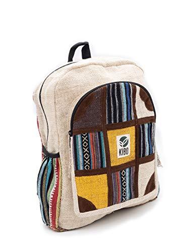 Kibo Hanf Rucksack Hemp Backpack KRS001, handgefertigt, Boho/Hippie-Style
