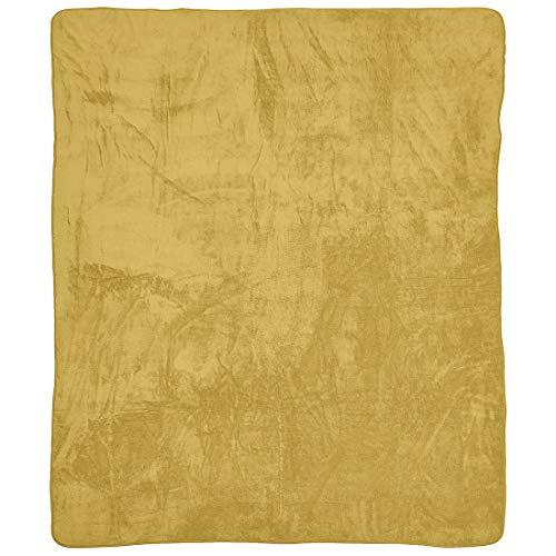 done Wohndecke Kuscheldecke aus Teddystoff - Tagesdecke einfarbig mit Saum - 150 x 200 cm - waschbar, Farbe:Gold