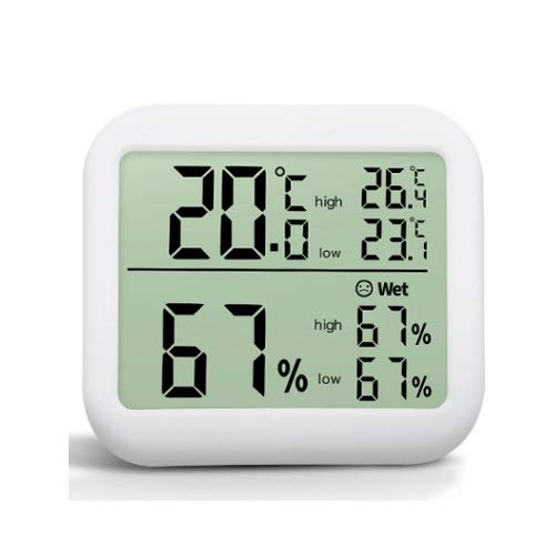 WCJ Kamer Thermometer, vochtigheid Meter, met LCD-scherm Iconen, Monitor temperatuur en vochtigheid for Home Office Nursery Comfort