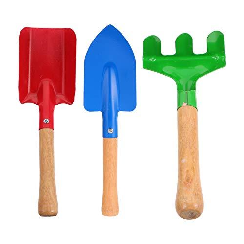STOBOK Set di attrezzi da giardino per bambini, con manico in legno, pala e rastrelliera, mini attrezzi da giardinaggio, giocattoli per bambini, ragazzi