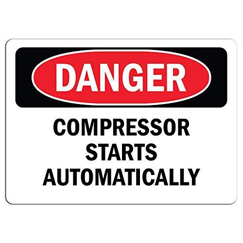 Gevaarteken Compressor Start Automatisch Bewaar Gebaren Aluminium Teken voor Garage Gemakkelijk te monteren Indoor & Outdoor Gebruik Metalen Teken