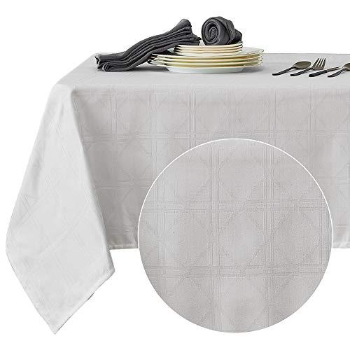 Deconovo Tovaglia Cerata Rettangolare Impermeabile in Tessuto con Motivo Triangolo 137x274cm Bianco