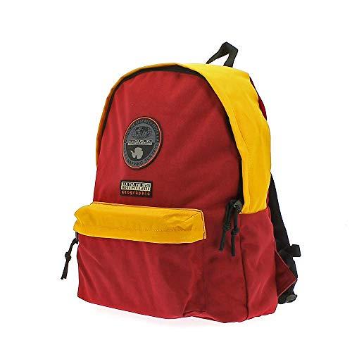 Napapijri Voyage Team - Zaino Unisex Adulto 40 × 32 × 13 cm esclusa tasca frontale adatto per la scuola nonché per essere utilizzato come bagaglio a mano (Giallo Rosso)