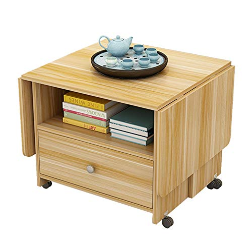 WZHONG Folding Coffee Table Multifunction End Table Sofa Side Table with Drawer Mobile Dining Table Extensible Small Table Living Room Wood Color (Size : 100x50x55cm)