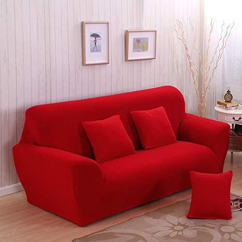 Allenger Funda de Fofá Elástica,Funda de sofá elástica de Color Puro, protección Antideslizante para Muebles y Funda antiincrustante, Lavable-Red_90-140cm