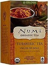 Numi Organic Tea Fields of Gold, 18 Count Box of Tea Bags (Pack of 6), Turmeric Tea