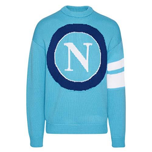 Gcds X Maglione Lana, Napoli SSC Knitted Sweater Unisex – Adulto, Light Blue, M
