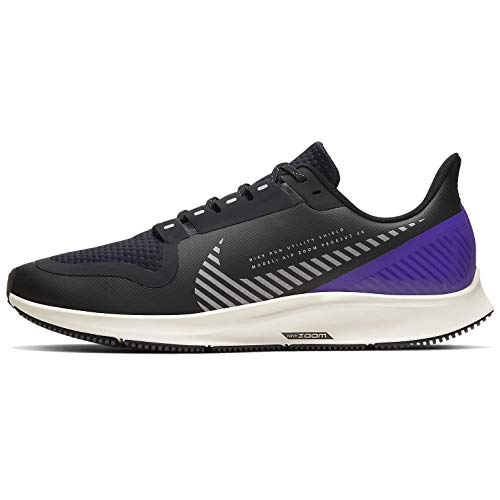 Nike Men's Air Zoom Pegasus 36 Shield 39s Running Shoes, Black/Silver/Desert Sand/Va Purple, 10.5 UK