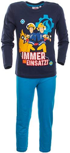 Brandsseller Jungen Schlafanzug - Pyjama Freizeitanzug Set mit Motiven im Stil von Feuerwehrmann Sam - Langarm Shirt und Hose Navy/Blau 98/104
