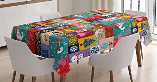 ABAKUHAUS Navidad Mantele, Diseño Moderno con Divertidos Patrones Invernales de Navidad Tema Infantil Niños, Apto Uso Interior y Exterior Material Lavable Colores Nítidos, 140 x 240 cm, Multicolor