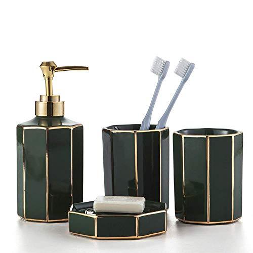 AMYZ Juego de Accesorios de baño de cerámica de 4 Piezas Juego de baño de diseño Moderno Dispensador de jabón,Soporte para Cepillo de Dientes,jabonera,Verde