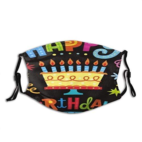 Cubierta Facial Feliz cumpleaños Pastel Grande Unisex Algodón Lavable y Reutilizable Decoración Facial cálida para exteriores-J69