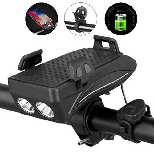 Fangteke LED Fahrrad Frontlicht, 4 in 1 Wiederaufladbare Fahrrad Frontleuchte 130 Dezibel-Lautsprecher 400 Lumen Superhelles Licht 4000Mah Handy-Powerbank Halterung für Fahrrad-Handyhalter