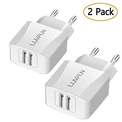 Luvfun [2 Pack] Caricatore USB da Muro, 2 Porte (5V/2.1A) Caricabatterie da Tavolo Alimentatore Portatile da Viaggio con Tecnologia iSmart(Bianco)
