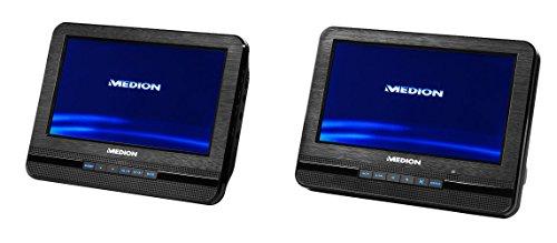 MEDION E72053 17,78cm (7 Zoll) Tragbarer DVD Player (2 Bildschirme, Wiedergabe von MP3, Lautsprecher mit 2x2 Watt RMS, Xvid, AVI und MPEG4 kompatibel)