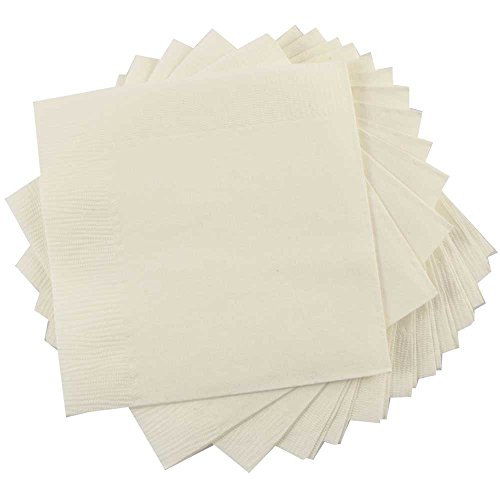 "JAM Paper Small Beverage Napkins - 5"" x 5"" - Ivory - 50/Pack"