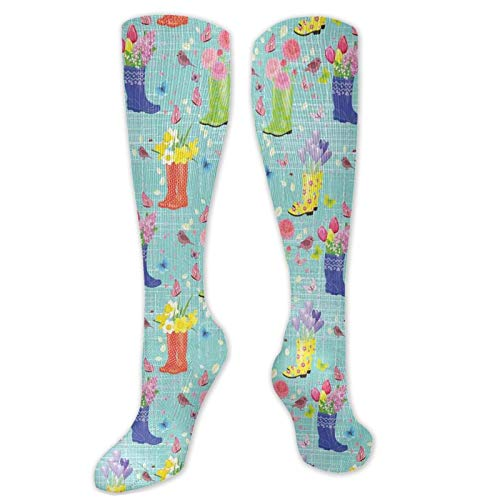 Compression High Socks-Rubber Boots With Flowers Abstract Blue Toned Background Butterflies And Hearts,Socks Women and Men - Best for Running, Athletic,Hiking,Travel,Flight