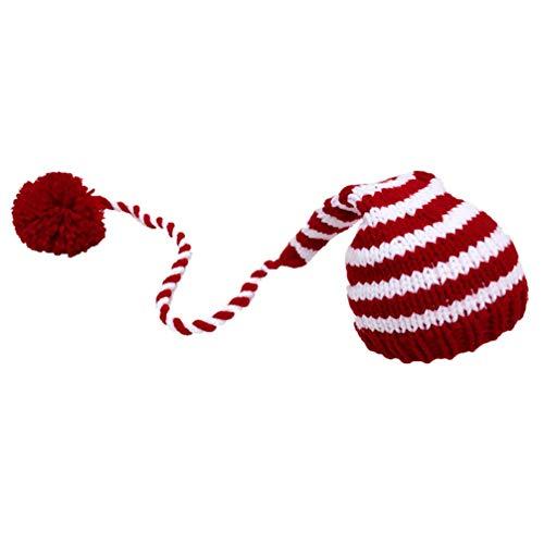 Amosfun Gorro de Navidad para bebé, suave tejido a mano, accesorio para fotos de Navidad para bebés recién nacidos