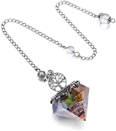 PESOENTH Aquamarine Pendulum Dowsing Crystal Divination Tree of Life Hexagonal Gemstone Healing Stone Pendulum for Scrying Dowser