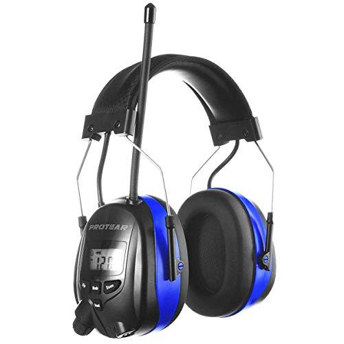 PROTEAR Wiederaufladbare Gehörschutz mit Radio und Bluetooth,FM/AM Radio Eingebautem Mikrofon,für Industrie,BAU und Mähen Lärmreduzierung - SNR 30dB