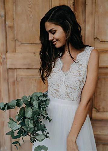 WANGMEILING Bruidsjurk Kant Bruidsjurk, Tule Bruidsjurk, Eenvoudige A-lijn Bruidsjurk Boheemse Bruid Jurk Mouwloos Halter (aanpasbare maat en kleur) trouwjurken