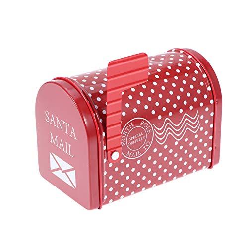 ABOOFAN Boîte Aux Lettres de Noël Boîte Aux Lettres Enchantée du Père Noël Boîte-Cadeau en Fer Blanc Boîte à Biscuits de Noël pour Le Cadeau Donnant des Bonbons Vides Récipients de